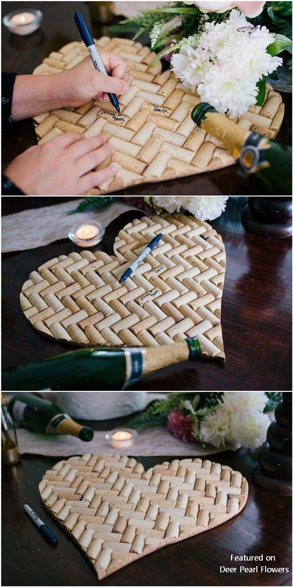 rustikale Weinkorken Hochzeit Gästebuch #Hochzeiten #Hochzeitsideen #Rusticalwedding #wedd