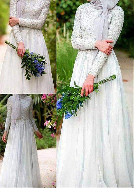 Buy discount Glamorous Silk-like Chiffon Natural Waistline A-line Arabic Islamic Wedding Dresses With Beaded Embroidery at Dressilyme.com