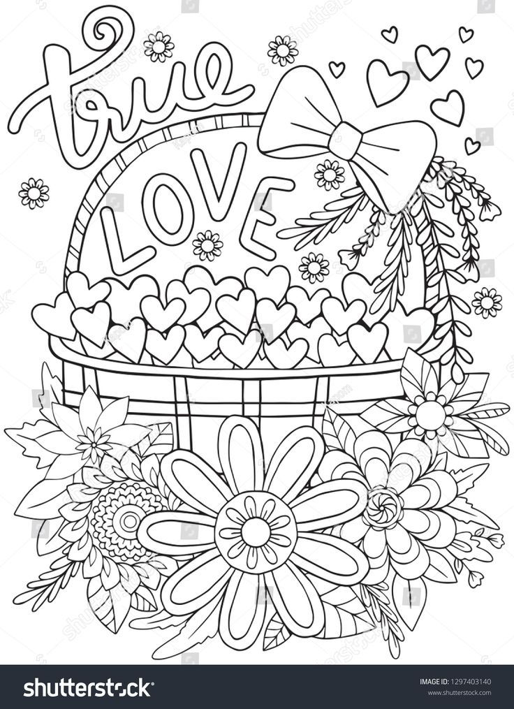 Hand Drawn With Inspiration Word Doodles Art With Heart And Flowers Element For Valentine S Day Or Love Cards Coloring For Ad ด เด ลอาร ท หน าส สม ดระบายส