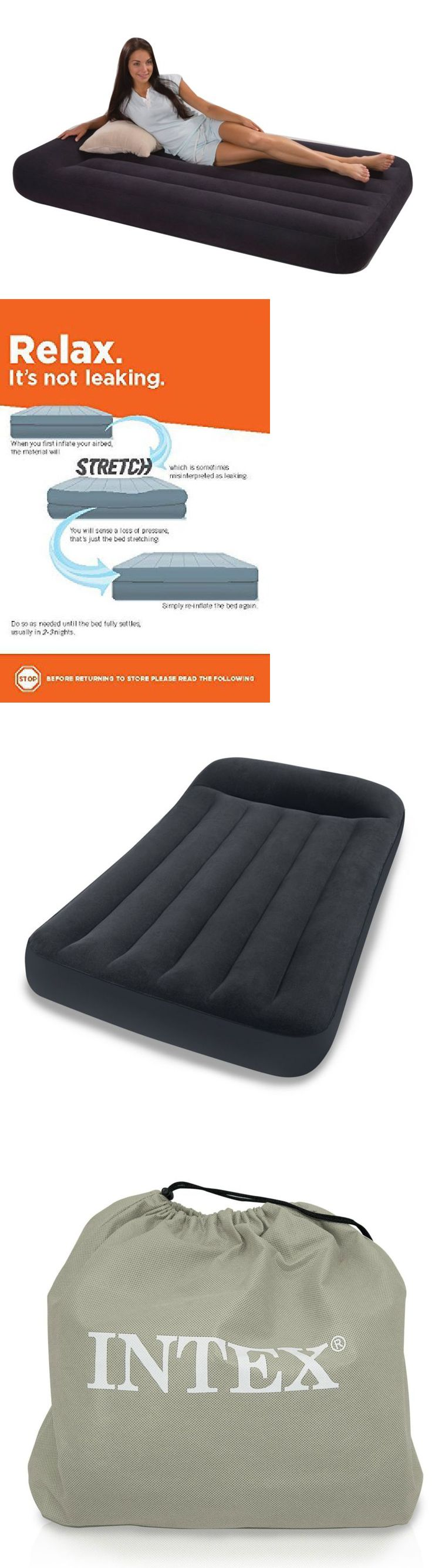 Inflatable Mattresses Airbeds 131598: Intex Twin Classic Pillow Rest Air  Mattress Bed With Built-