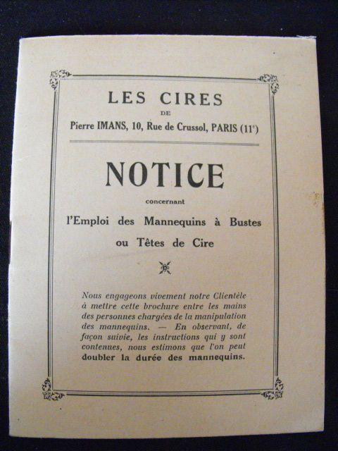 Pierre Imans Notice d'entretien des mannequins et têtes de cires Art-Déco