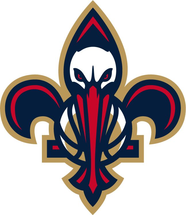 New Orleans Pelicans Secondary Logo (2014) - The bird-de-lis logo, a pelican and a basketball inside a fleur-de-lis