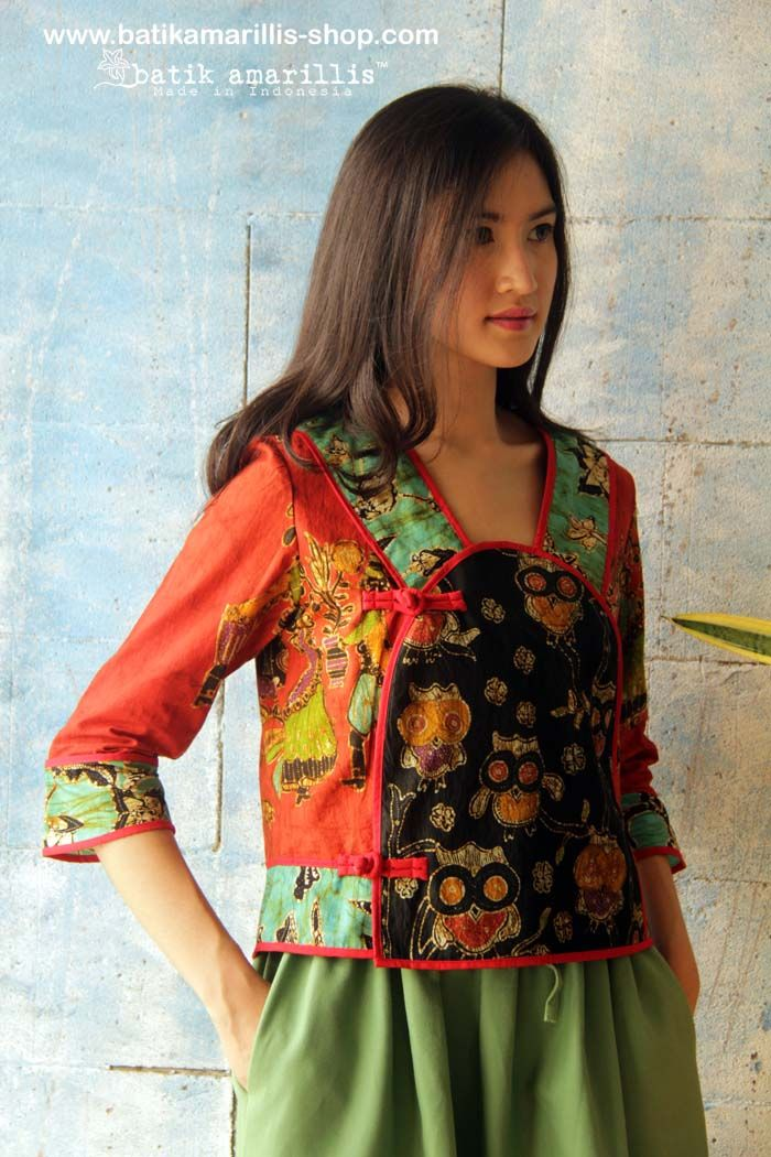 Batik Amarillis's Project A jacket & Paperbag skirt  a well tailored jacket made of Batik wonogiren, Indonesia   ...with unique aplique at front with piping to frame out the whole look,beautiful neckline with a purpose to elongated your neck, hidden button closure inside, lined with cotton with two seam pockets. batik amarillis's paper bag skirt the skirt is a statement! a perfect match for Batik Amarillis's Project A jacket! for women who's not afraid to stand out in the crowd!