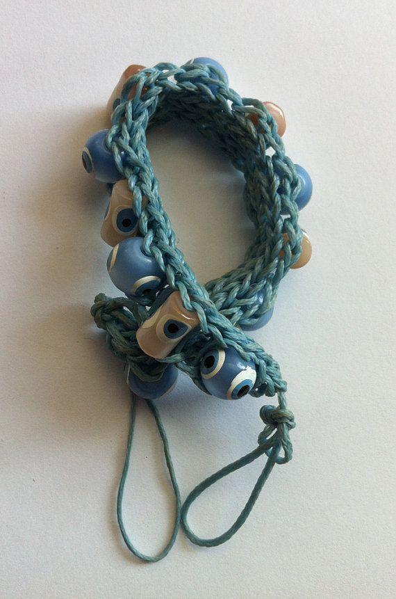 blue beaded braceletAmulet beaded braceletblue wax by bonmokishop