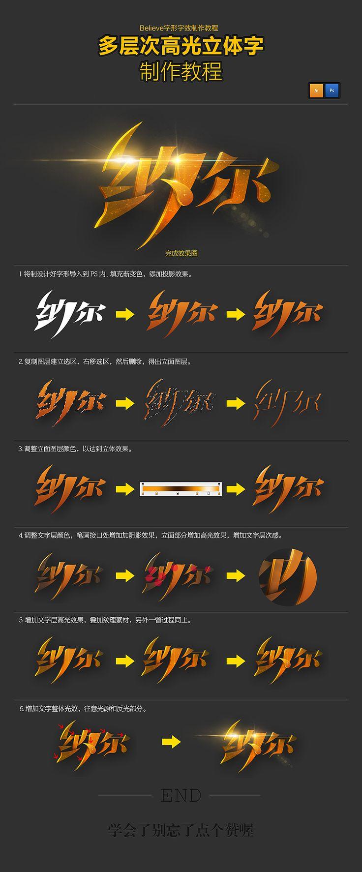 多层次高光立体字制作教程(1000×24...@火柴人steel采集到图标(403图)_花瓣