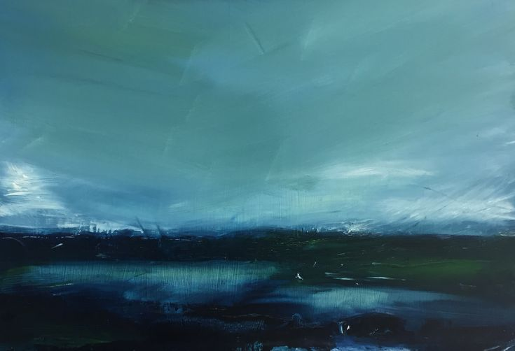 Blue Sea Oil on Board by Lily Rigby