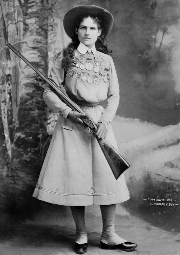 """Sharpshooter Annie Oakley, pictured in the """"Police Gazette"""" newspaper in 1899, would show off her talent in """"Buffalo Bill's Wild West"""" show...."""
