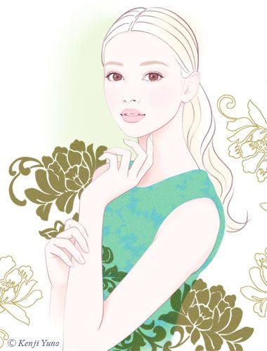 美しい女性 人物イラスト油野健二イラストレーション