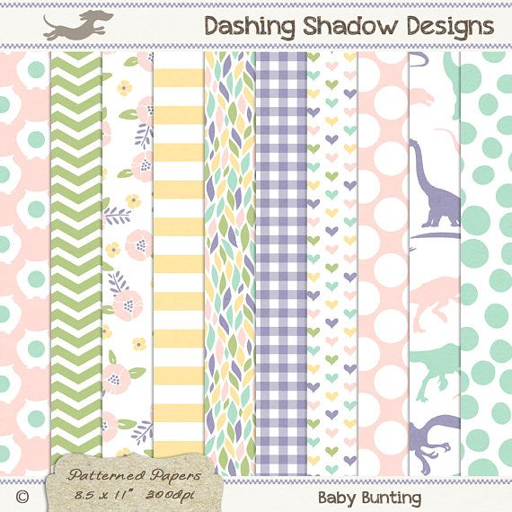 A4 Baby Bunting Digital Printable Scrapbook Craft Paper | Patterns: Owls, chevron, florals, stripes, gingham, hearts, polka dots, dinosaurs. This instant download digital paper pack includes ten A4 papers with ten cute designs and five pastel colours which are exclusive to my A4 collection - Blush, Buttercup, Leaf, Aquamarine and Mauve. All sheets have a very subtle and smooth texture, designed to look like paper you'd find in any good quality stationery store.