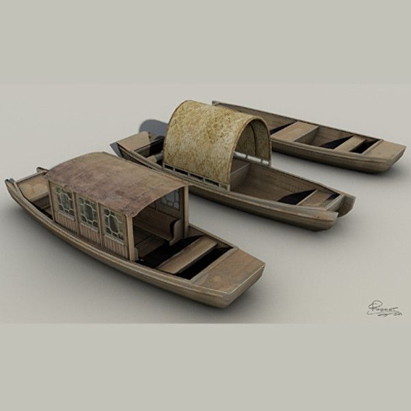 3D Chinese Boats Model - 3D Model
