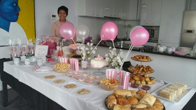 Baby shower table set up