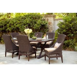 Hampton Bay Woodbury 7-Piece Patio Dining Set with Textured Sand Cushions-D9127-7PC at The Home Depot...   Note to self...Want the chairs. Like the design of the table, but want wood...Think ANA WHITE's site has a pattern for a similar table. For kitchen.