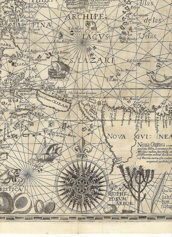19 best nautical art images on pinterest antique maps old wall world map old world map ancient maps linschoten 1598 spice islands 16 gumiabroncs Images