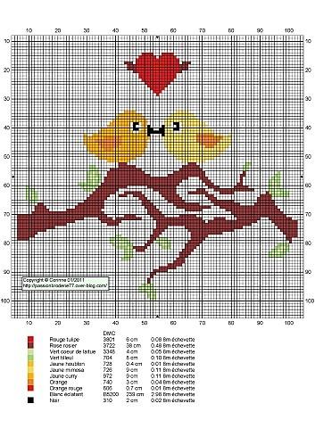 Cross stitch *<3* Point de croix  Oiseaux branche