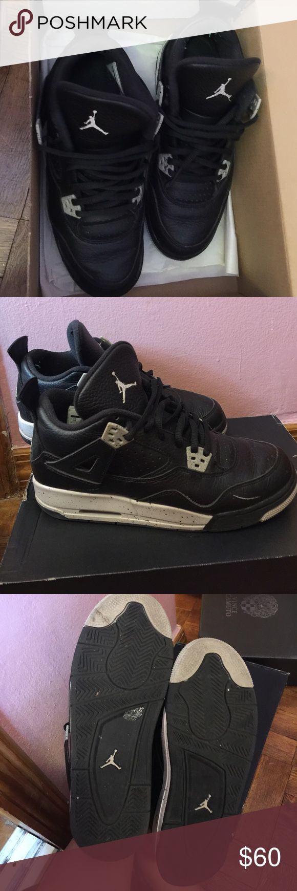 """Air Jordan Retro 4 """"Oreo"""" Air Jordan Retro 4 """"Oreo"""" black and gray original box! Size 6Y in boys- 7.5 in women. Flexible on offer price! 🖤 Jordan Shoes Sneakers"""