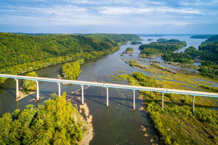 View of the Susquehanna River and Norman Wood Bridge, near Holtwood, Pennsylvania.