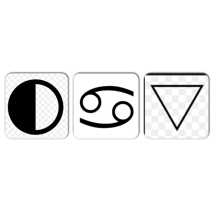 Cancer zodiac symbols: its planetary body (moon) sign of the crab, and its element (water)