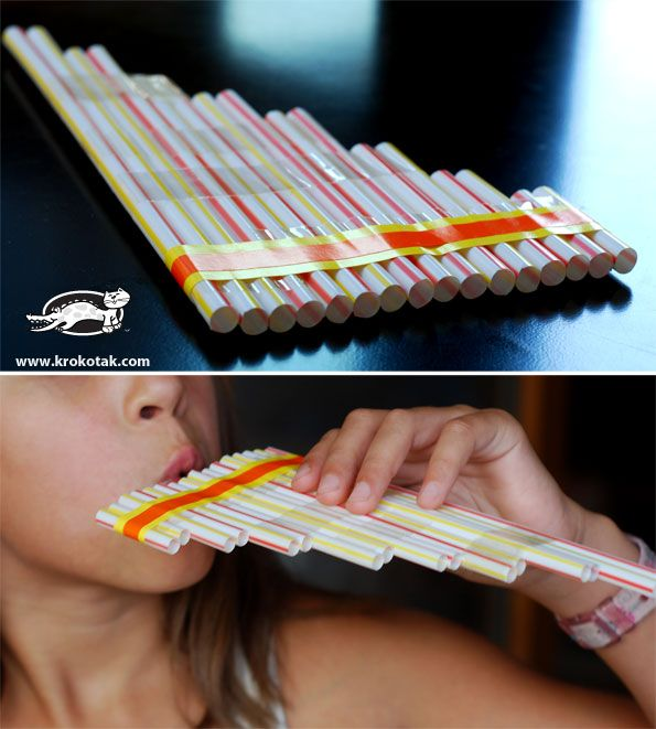 homemade musical instrument for kids: #DIY pan pipe from straws - fun for #homeschool music