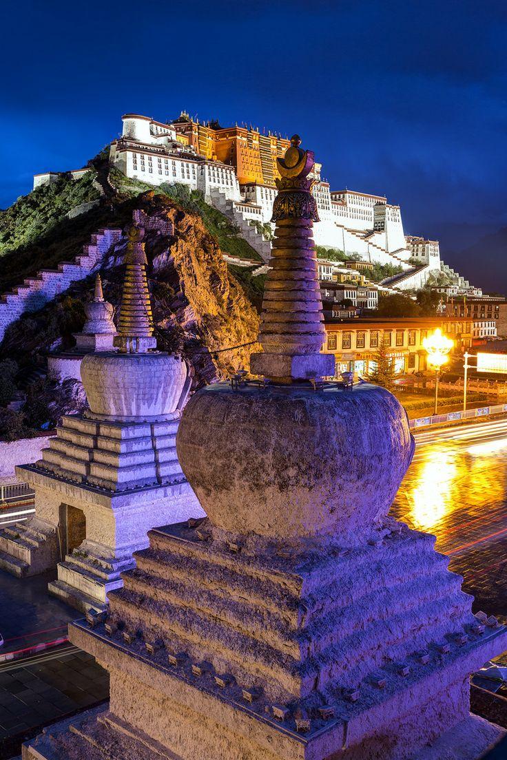 ღღ Potala Twilight - Potala Palace . Llasa, Tibet. Beautiful blend of cool and warm light.