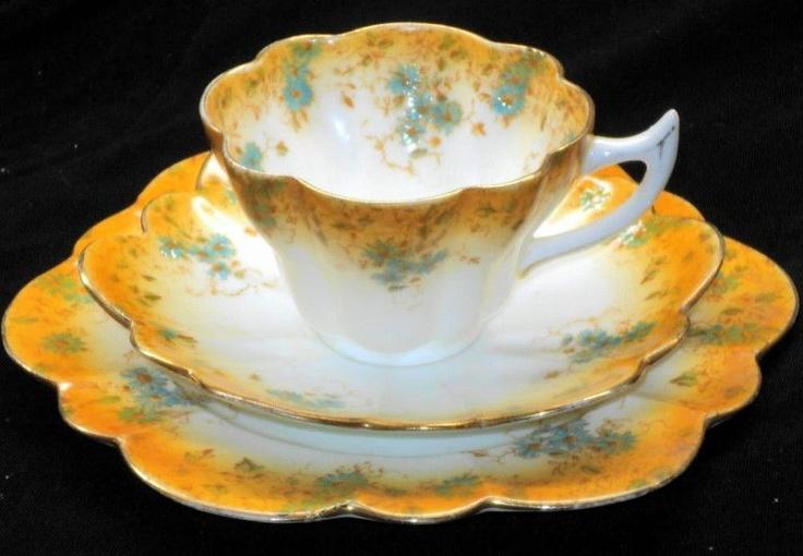 Shelley Wileman Foley Snowdrop Orange Tea Cup and Saucer Trio