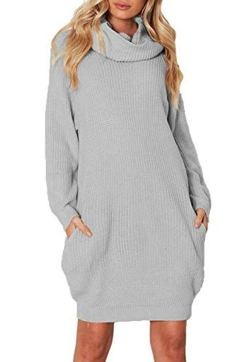 c19876ef9bc New Azokoe Womens Casual Loose Heap Collar Mini Knit Sweater Dress with Side  Pockets (3 Colors) online   31.99  newforbuy