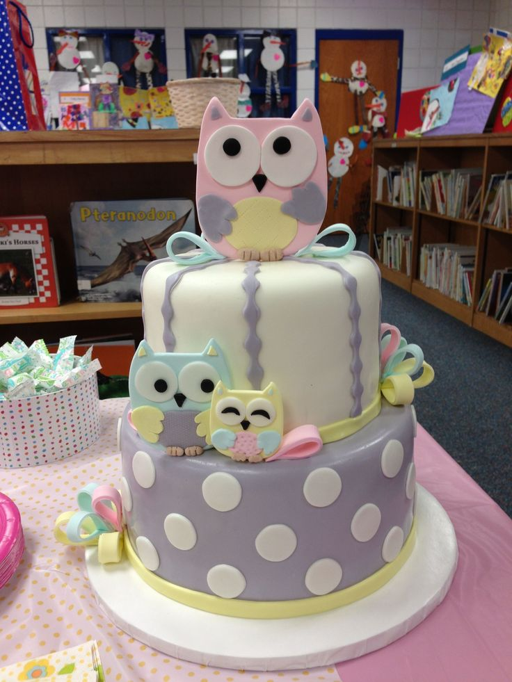 Owl Baby Shower Cake - Two tier fondant covered cake with fondant and gum paste owl and bow accents. Matches new baby's Treehouse Friends bedding.