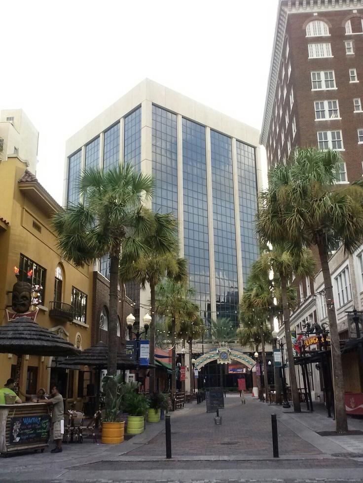 Wall street pedestrian only downtown Orlando