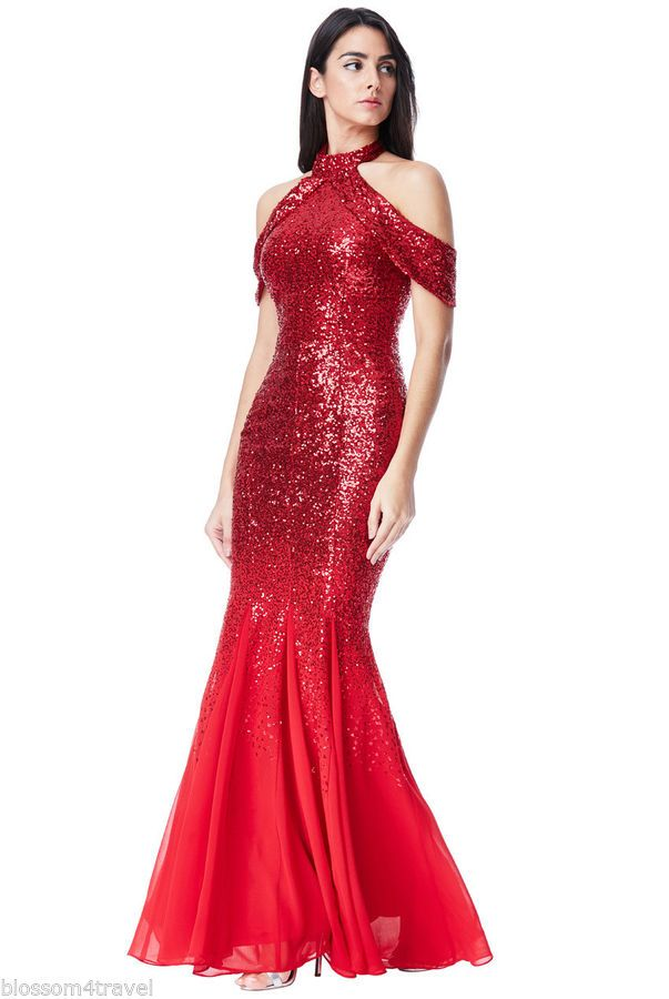 3b6202e08af9 Goddiva Red Sequin Chiffon Inserts Maxi Dress Prom Party Bridesmaid Ball  Gown#Chiffon#Inserts#Maxi