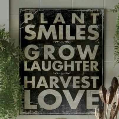 plant smiles grow laughter harvest love quote as a pallet sign for garden