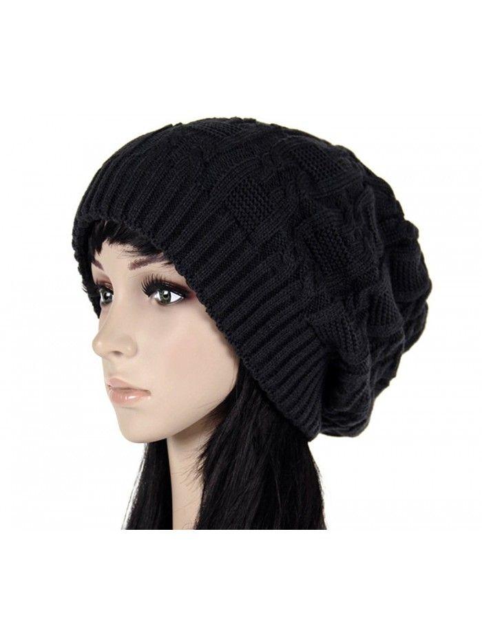 d1d1381d354 Women s Pile Knitted Cap Hat Bonnet Winter Knit Crochet Ski Hat - Black -  CG12N33VRFU - Hats   Caps