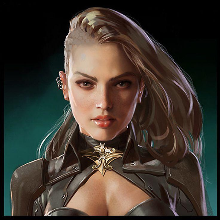 shadowrun; female; human, blond; face