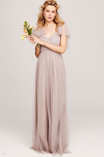 The Right Bridesmaid Dress For Every Wedding #refinery29 http://www.refinery29.com/ultimate-bridesmaid-dress-guide#slide8 The Country Farmhouse Keep things sweeping in the countryside with an ethereal stunner like this. Drape the long tulle straps over your shoulders to create romantic sleeves, or tie 'em around the empire waist for a beautiful bow detail.