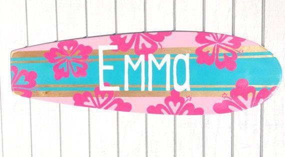 Girls Beach Themed Surfboard Sign for your Surfer Girl Bedroom