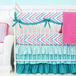 Lila Aqua Chevron Bumperless Crib Bedding Collection