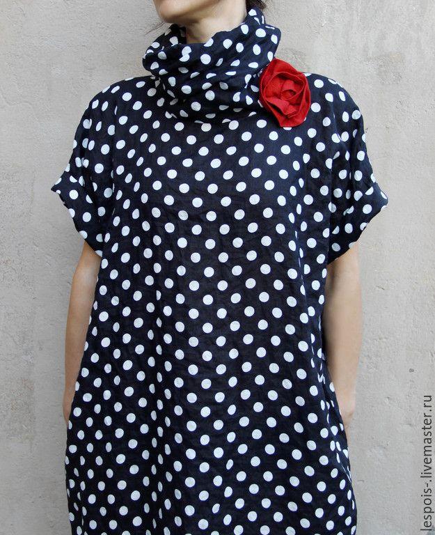Купить Льняное платье в горошек - черный, в горошек, льняное платье, летнее платье, лен 100%
