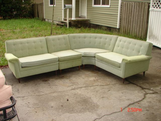 50u0027s kroehler midcentury modern 4 pc green tweed sectional : mid century sectional - Sectionals, Sofas & Couches