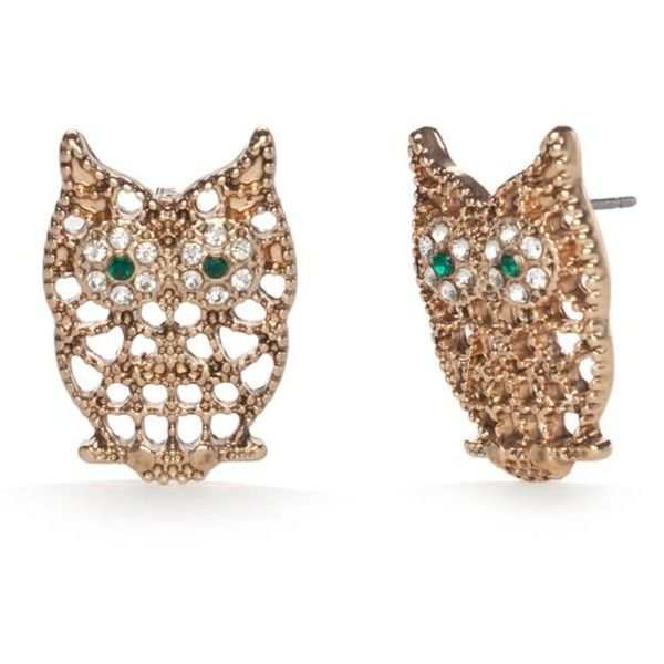 Red Camel Yellow Gold-Tone Spirit Animal Owl Button Earrings ($6) ❤ liked on Polyvore featuring jewelry, earrings, earring jewelry, gold owl jewelry, gold stud earrings, gold colored earrings and animal jewelry