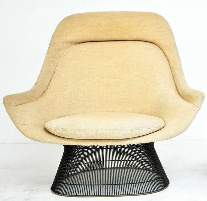 warren platner knoll fauteuil et pouf pied 39 grille. Black Bedroom Furniture Sets. Home Design Ideas