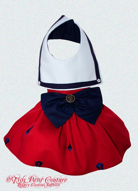 Couture Dog Dress Embroidered Nautical Theme by tinypawscouture, $75.00