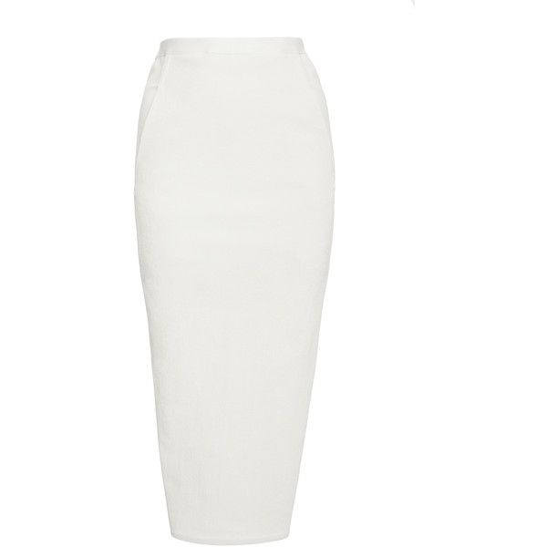 Rick Owens     Soft Pillar Midi Pencil Skirt (4,070 GTQ) ❤ liked on Polyvore featuring skirts, white, pencil skirt, white pencil skirt, rick owens, mid calf skirts and white skirt