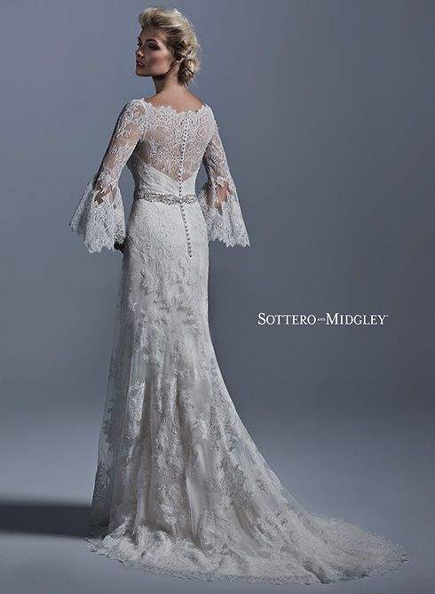Fatima by sottero and midgley wedding dresses slim for Wedding dress bell sleeves
