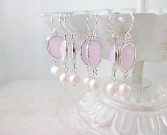 Rose Quartz Pink and Swarovski Pearl earrings #wedding #personalized #bridesmaids