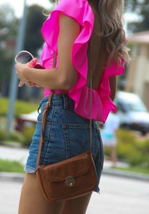 .: Fashion Beautiful, Dreams Closet, Pretty In Pink, Texas, Jeans, Open Back, Frilly Shirts, High Waist Shorts, Ruffles