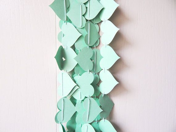 Heart Garland in Green Mint / Mint Wedding Decor / Photo Prop / Mint Table Accent on Etsy, $7.50
