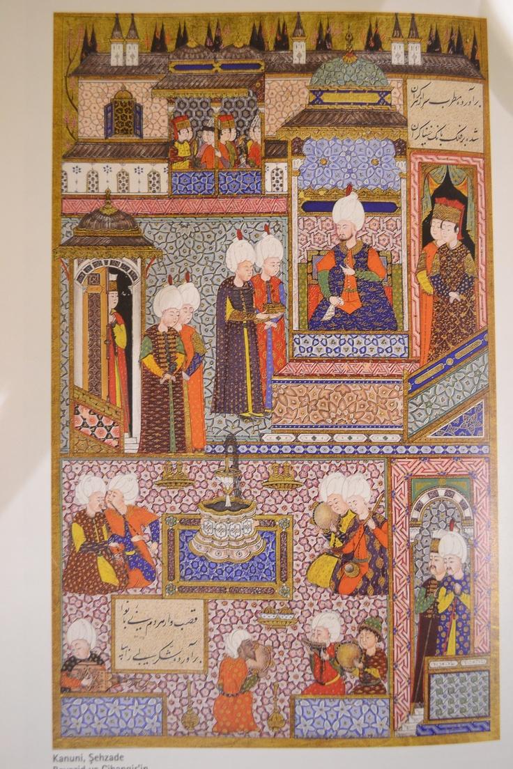 Kanuni, Şehzade Bayezid ve Cihangir'in sünnet düğününde. Arîfî, Süleymanname, 1558. TSMK H 1517, y. 412a. (Halil İnalcık, Has-bağçede 'ayş u tarab, syf:194'ten iktibas)