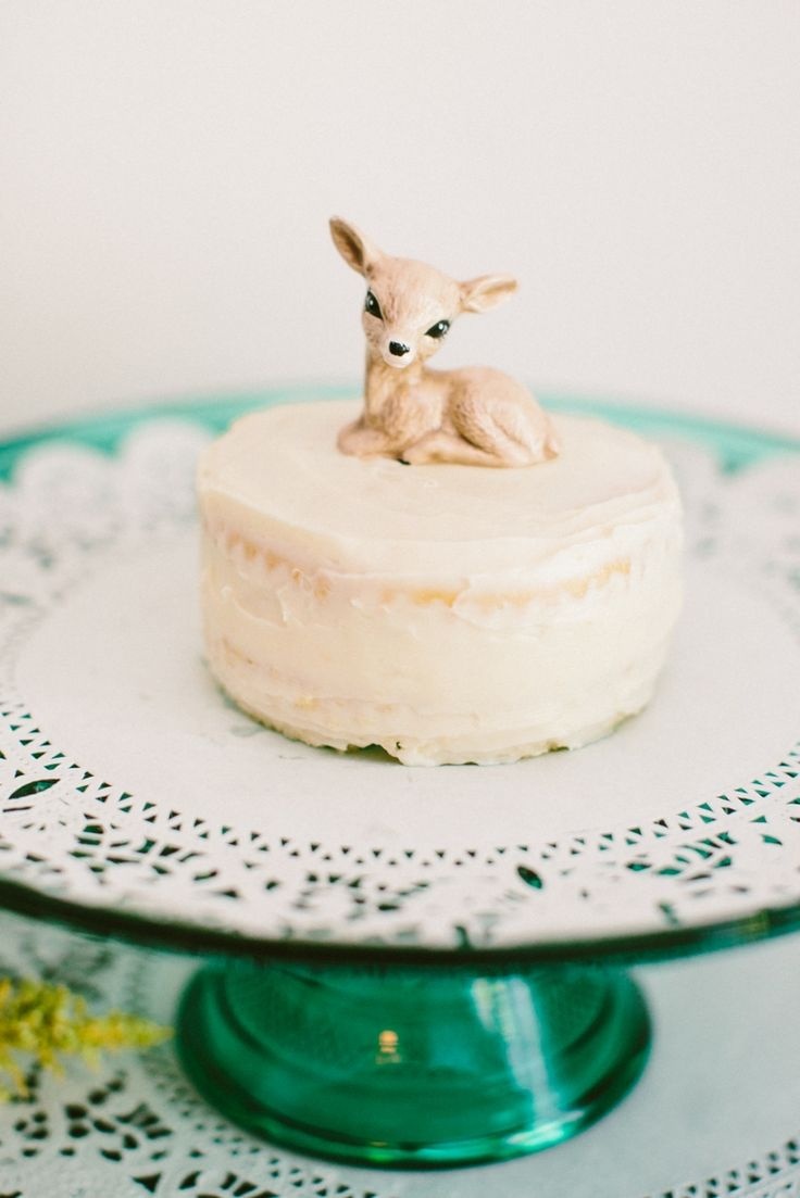 Baby Fawn Figurine Vintage Deer Cake Topper Vanilla Cake