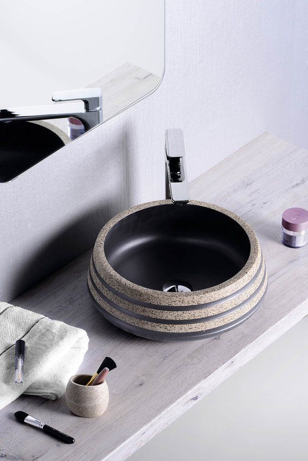 PRIORI keramické umyvadlo, průměr 41cm, 15cm, černá/kámen, SAPHO E-shop