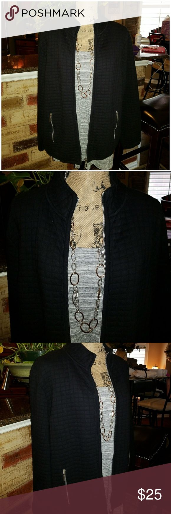 ♦️Karen Scott Cotton Blend Jacket Awesome Black Jacket That has a waffle print quilt design . Has Silver  zipper In front and front pockets. In excellent excellent condition as only worn once or twice. Material is 85% cotton with 15% polyester. Wonderful for Fall and in to Spring. Karen Scott Jackets & Coats