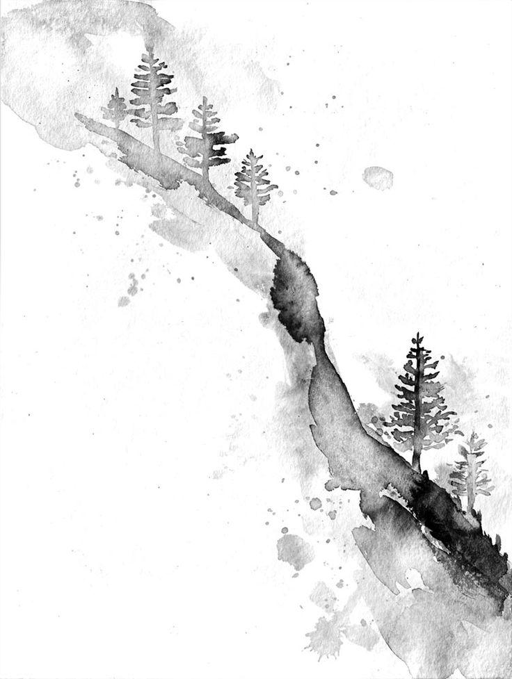 snow trees. trail Art. watercolour. Dark Art.                              …