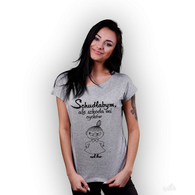Koszulka damska z nadrukiem Mała Mi- Schudłabym, ale szkoda mi cycków. szara